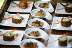 Our reception food included a focaccia stand, a wrap stand, and bite size appetizers such as crispy sushi, vegetable patties and cherry toma...