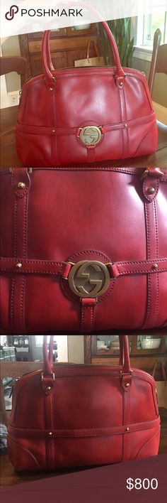 Red Leather Gucci Handbag This used bag is one of quite a few that were gifted to me by my aunt. They aren't my style, or in my early 20s price range and should probably go to someone who would appreciate them. The price I have listed is negotiable, within good reason. The price I estimated after searching online. I am not interested in trades. This bag does show some signs of wear on the exterior only. Scrape on the front, one on the back, and one on the bottom corner. There is also some…