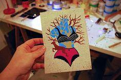 Linograbado con varias planchas y tintas  http://delamaingauche.canalblog.com