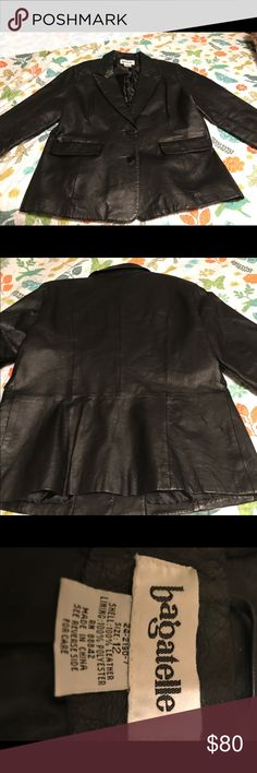 Black ladies leather coat this coat looks like it's never been worn it is 100% leather and it's a size 12 no marks no tears no rips's excellent condition make me an offer because I except them all please check out my other items while you're here and happy poshing bagelette Jackets & Coats Utility Jackets
