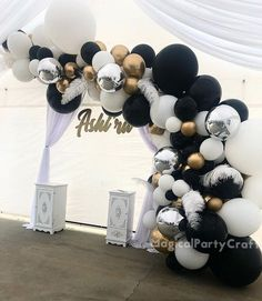 Black And White Party Decorations, Silver Party Decorations, Balloon Decorations, Black Gold Party, Graduation Decorations, Balloon Arch, Balloon Garland, Black And White Balloons, Black White