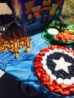 Superhero party!!! Thor hammers and Capt. America fruit tray.