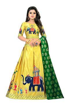 Heni Fashion Women's Digital Print Silk Lehenga Choli (Off White_Free Size, Semi-Stitched) Choli Designs, Lehenga Designs, Blouse Designs, Indian Lehenga, Silk Lehenga, Yellow Lehenga, Indian Fashion Dresses, Indian Designer Outfits, Dress Fashion