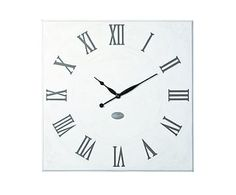 Horloge murale ROMANCE bois, blanc et noir - 81*81