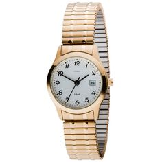 JOBO Damen Armbanduhr Quarz Analog Edelstahl vergoldet Flexband Datum