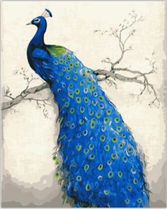 40*50 Blue Peacock vintage home decor wall art pictures oil painting on canvas picture painting by numbers cuadros decoracion