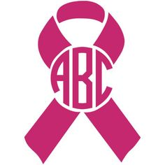 Breast Cancer Awareness Ribbon Monogram Decal - Pink