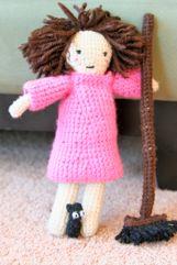 Kiki Doll and Undergarments: Basic doll pattern.  Very Tiny Jiji: A to scale cat to the Kiki doll.  Kiki's Shoes and Broom: Shoes and broom for the Kiki doll.  Kiki's Witch's Dress: A simple long sleeved dress.  Kiki's Princess Dress: A full-skirted, short puff-sleeved dress.  Kiki's Shirt and Pants: Plain short-sleeved shirt and long pants for the Kiki doll.   A full sized Jiji cat.