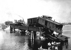 Train wreck on a bridge in Tampa   by State Library and Archives of Florida