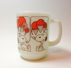 Vintage snoopy mug, anchor hocking, fire king cup, peanuts, charley brown, vintage milk glass on Etsy, $15.00