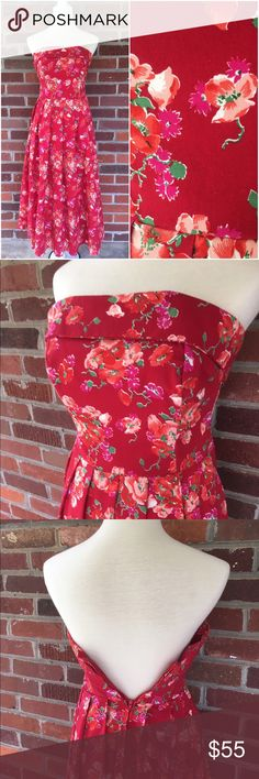 "1950's Style Laura Ashley Floral Strapless Dress A beautiful pink and red floral poppy patterned strapless full skirted Laura Ashley dress made in the USA. The bodice is fully lined and boned. The shelf bust measures 30""-32"" - waist measures 26"" - hips are free - the length is 43"". This dress is in excellent condition with no flaws. Vintage Dresses"