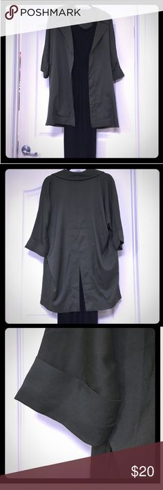 Sexy fall olive jacket overcoat oversized sleeve Super cute overcoat, like new. Never wore, has cute slit detail in back and pickets on both sides.  Nice smooth olive matte color fabric, perfect to throw over a black dress or any work top! 3/4 sleeve length Forever 21 Jackets & Coats Blazers