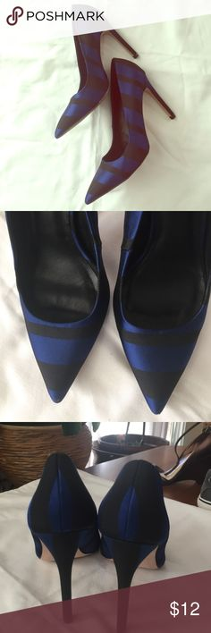 Zara basic collection. Heels Royal blue and black skinny heels:gently worn/shoe material is cloth/heel cover is same as shoe/ pointed toe/ beautiful shoe blue is like a silk material/black is ribb material. Very versatile in wear/ .. Zara Shoes Heels
