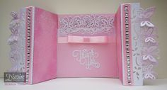 Crafter's Companion Die'sire Fancy Edge'ables Butterfly Dreams - Centura Pearl Snow White Silver and Pink - Rose Swirl folder - Die'sire Only Words die: Thank You - Collall All Purpose and 3D Gel Glue and Stick It - #crafterscompanion