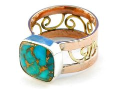 Design 110684 blue copper turquoise .925 Sterling Silver Ring Size 9