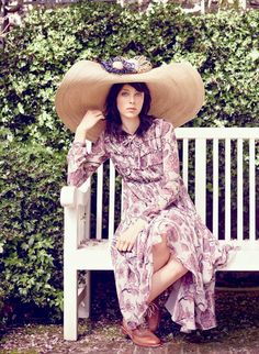 Edie Campbell, photographed in the garden at Fenton House, in Hampstead Grove, London.
