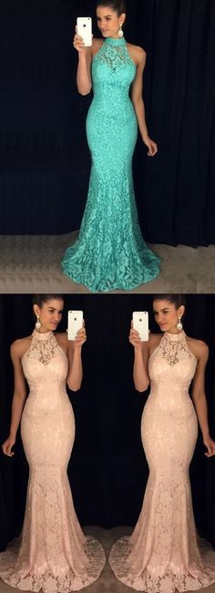 Mermaid High Neck Sweep Train Turquoise Sleeveless Lace Prom Dress by MeetBeauty, $148.19 USD