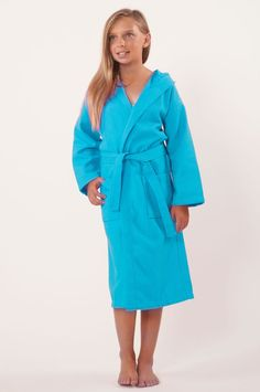 811463ccf7 100% Turkish Cotton Kids Hooded Waffle Diamond Robe - Turquoise - Kids (Age  3-6) - Small Medium  Kids Hooded Waffle Diamond Robe - Turquoise - Small  Medium