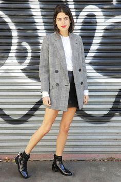 Foolproof Date Outfits That Work For Any Occasion via @WhoWhatWear Oversized Blazer + T-Shirt + Miniskirt + Booties