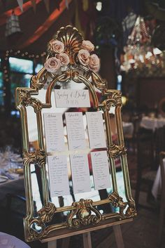 Wedding Ideas: 19 Fabulous Ways to Use Mirrors - wedding seat chart idea; Photography: Anna Hardy