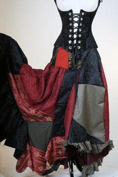 Full Length Patchwork Skirt in Blacks and by damselinthisdress