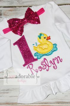 Rubber Duck Appliqued Birthday Shirt or Tee by SewAdorableBowtique