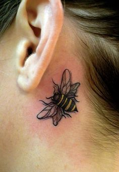 bee tattoo behind the ear, so pretty! A wee bit smaller would be amazing. TonyGoeke.deviantart.com