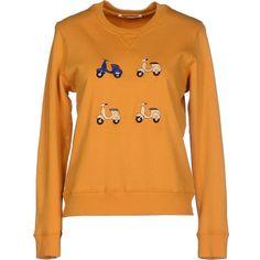 Eudon Choi Sweatshirt ($240) ❤ liked on Polyvore featuring tops, hoodies, sweatshirts, ochre, sweatshirts hoodies, orange top, eudon choi, sweat tops and long sleeve tops