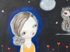 Twilight - A mixed media painting girl and owl on 8x10 canvas by Nathanya Vo
