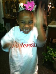 Ry, daughter of Dirty Beauty owner, Samantha Dickey dancing in her Pinterest t shirt at The Perfect Pinterest Party on May 17, 2012!
