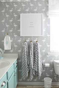 A Flock of Flamingo Stenciled Rooms! 11 DIY Decorating Ideas using Flamingo Wallpaper Wall Stencils - Royal Design Studio Stencils - Project by Dwellings by Devore