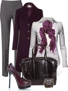 Love the plum coat.  Most women cannot wear the skinny stretch pants, especially to work.  Also, need functional shoes.