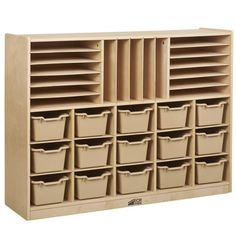Multi-Section Storage Cabinet with 15 Bins - Sand, White