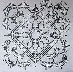 World Crochet: Motif 292 - Diy Crafts - maallure Crochet Motif Patterns, Granny Square Crochet Pattern, Crochet Blocks, Crochet Diagram, Crochet Chart, Crochet Squares, Thread Crochet, Filet Crochet, Irish Crochet