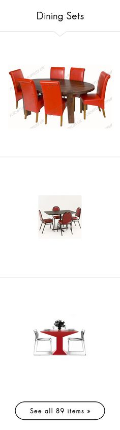 """Dining Sets"" by musho ❤ liked on Polyvore featuring home, furniture, chairs, dining chairs, leatherette dining chairs, red chair, tall back dining chairs, rustic chairs, high back dining chairs and 5 piece dining table set"