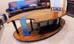 wood table with epoxy glass like waterfall