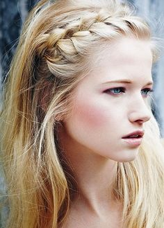 Braiding across your hairline creates a natural headband.