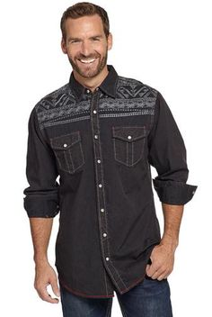Cowboy Up Vintage Washed Long sleeve Woven Shirt CB50204