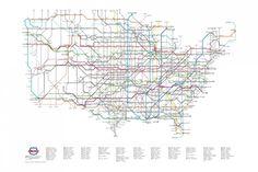 アメリカの州間高速道路地図。地下鉄並みに整備されています。旅情をそそるなぁ。