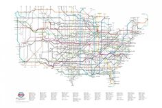 U.S. Numbered Highways as a Subway Map, wish it was as easy to travel as taking the subway