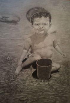 dibujo gradito  70*50 cm  niño en la playa