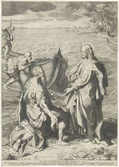 Aegidius Sadeler | Roeping van Petrus en Andreas, Aegidius Sadeler, Jacques Muller, 1594 | Christus staat op de oever van het meer van Galilea. Andreas knielt voor hem, terwijl zijn broer Petrus uit de vissersboot klimt. De prent heeft een Latijns onderschrift met een opdracht aan de theoloog Jakob Müller.