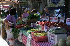 Fresno Farmer's Market fabric wrapped around baskets. all fruits same price,