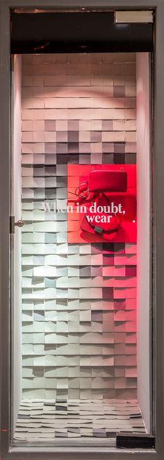 Visual Merchandising Arts - Post it Note Window Displays