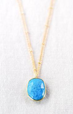 Ka'ohu necklace - double layered gold turquoise necklace, delicate gold necklace, turquoise necklace, double strand necklace, kealohajewelry