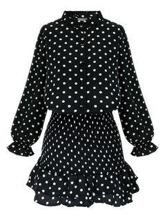 Pretty dots printing slim long sleeve tunic dress MK-2076