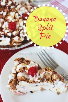 Banana Split Pie   What you need:   1 pkg Vanilla Instant Pudding,   1 1/2 cup Milk   16 oz Cool Whip  2 sliced Bananas  1 cup Pineapple Tidbits, drained  1 cup diced Strawberries  1 prepared Chocolate Pie Crust  Chocolate Syrup  place a layer of bananas on pie crust. Mix pudding powder & milk in a bowl. Stir until it begins to thicken. Stir in half of the Cool Whip  add strawberries & pineapple.  Spoon into crust. Refrigerate several hours. Top with remaining Cool Whip, chocolate syrup & nuts