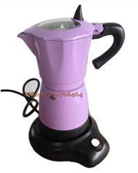New fashion Red/Orange/Purple/Yellow aluminum electric Stovetop coffee maker mocha coffee pot espresso coffee machine
