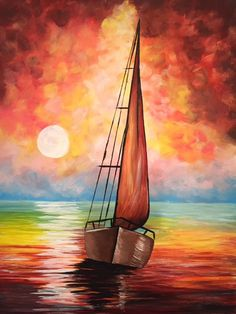 Paintings Hair Products curly hair products Best Picture For Hair Product photography For Your Taste You are looking for something, Watercolor Landscape, Landscape Art, Landscape Paintings, Watercolor Paintings, Oil Paintings, Simple Oil Painting, Easy Canvas Painting, Canvas Art, Sailboat Painting