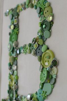Letter button Wall art